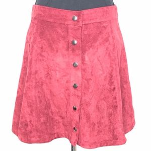 Luxe Apothetique Red Faux Suede Mini Skirt A010669